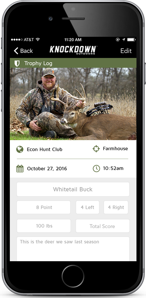 Knockdown Outdoors™ App Trophy Log and Harvest Record